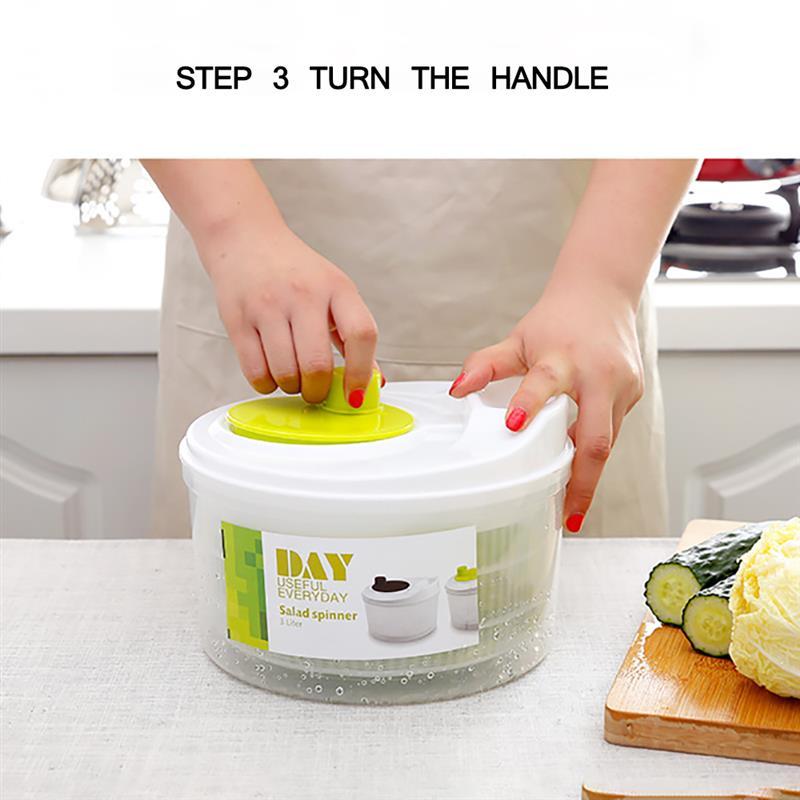 Спиннер для салата, сушилка для салата, легко вращается, абс ручной Дегидратор для салата и овощей, высокоскоростной центробежный слив, корз...