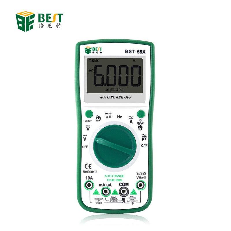 Nouveau multimètre 4 bits demi-gamme 58X numérique haute précision tension d'alimentation et instrument de mesure de courant