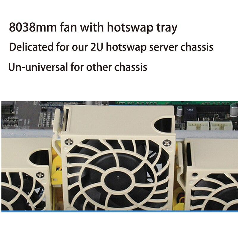 Hotswap Dual-balling 8038mm Server Chassis Fan With Fan Tray