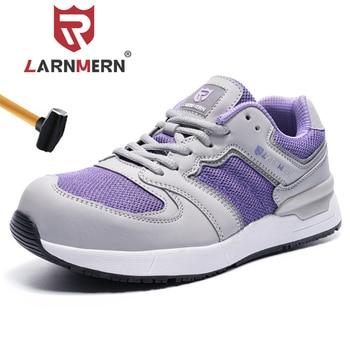 LARNMERN Women Steel Toe Safety Shoes SRC Non-slip Anti-static Sneaker Anti-puncture Reflective Work Boots Fashion Sneaker