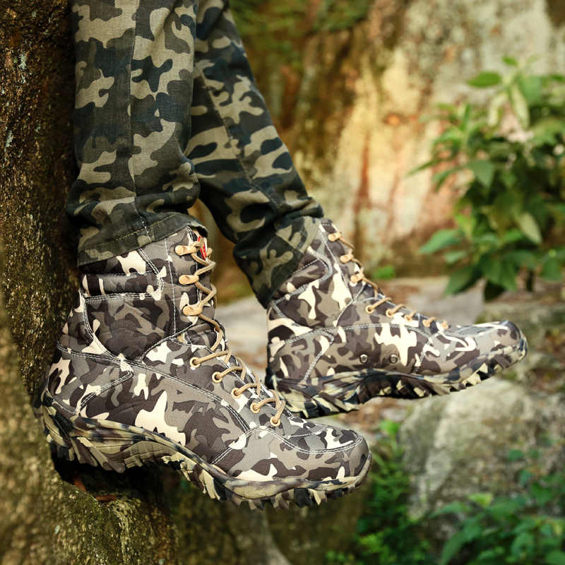 Stivale militare militare da uomo 2018 primavera tela impermeabile di alta qualità Camouflage combattimento tattico stivaletti da deserto scarpe da uomo