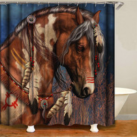 Vintage western horse waterproof fabric polyester shower curtain for home decoration with hook