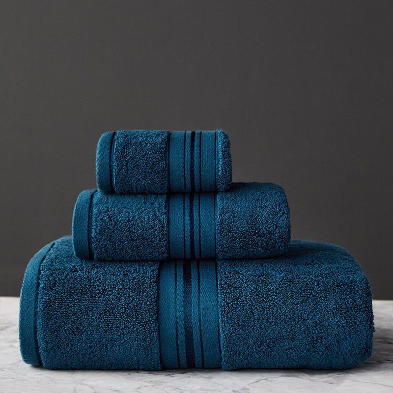 Toalha define 100% coton para a cor sólida do banheiro toalhas de banho da mão da cara altamente absorvente