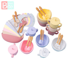 Feeding-Bowl-Set Spoon Dishes Wood-Fork Learning Baby Silicone Non-Slip Babies Bib 5pcs/1set