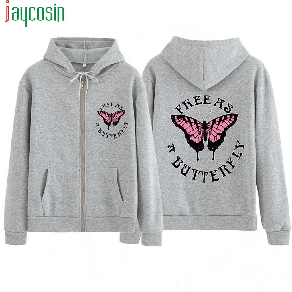 Hoodies Sweatshirt Women Butterfly Embroidered Long Sleeve Casual Zip-up Plus Size Loose Drawstring Ladies Top Sports Sweatshirt