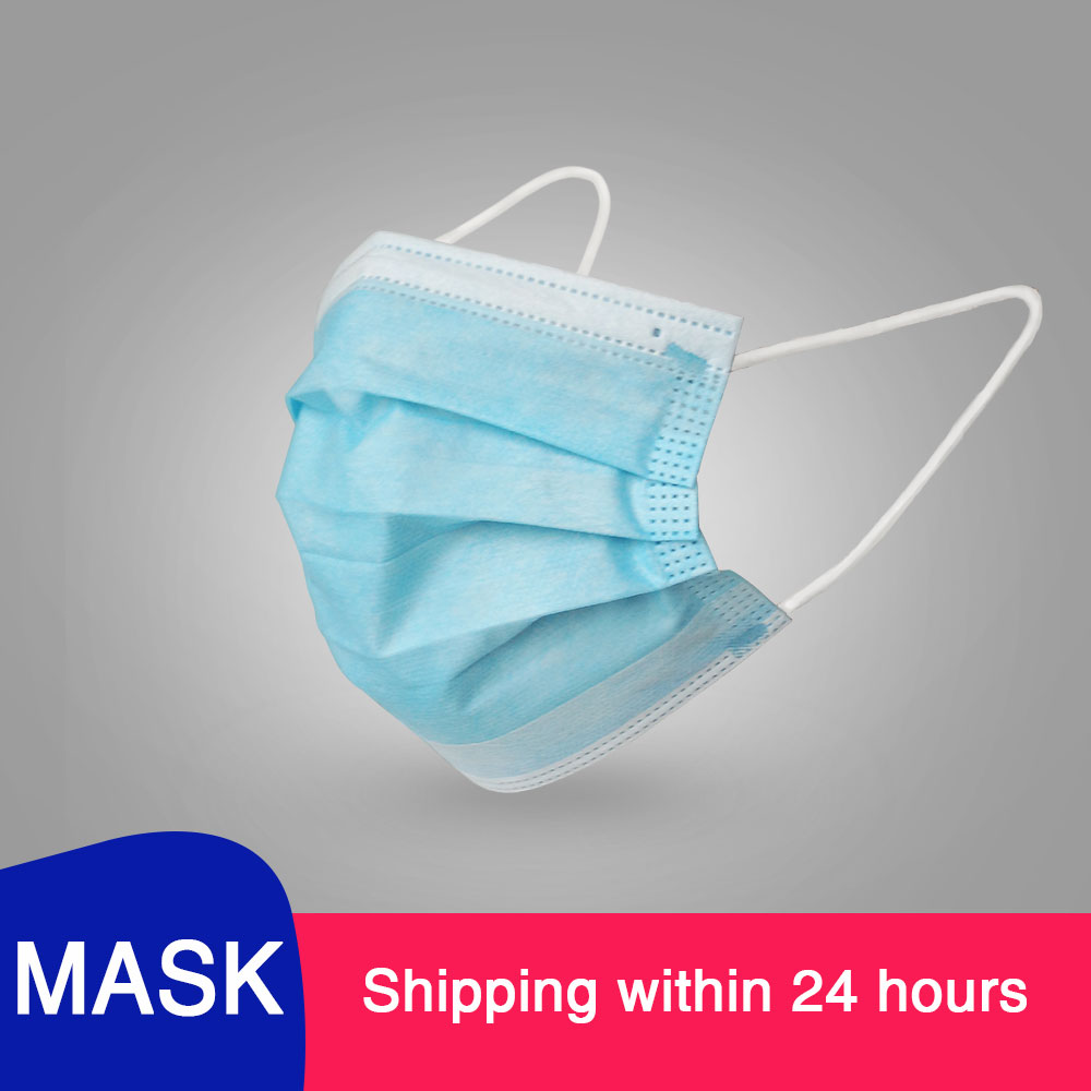 $0.01 Fast Delivery Hot Sale 3-layer Mask Face Mouth Masks Non Woven Disposable Anti-Dust Meltblown Cloth Masks Earloops Masks