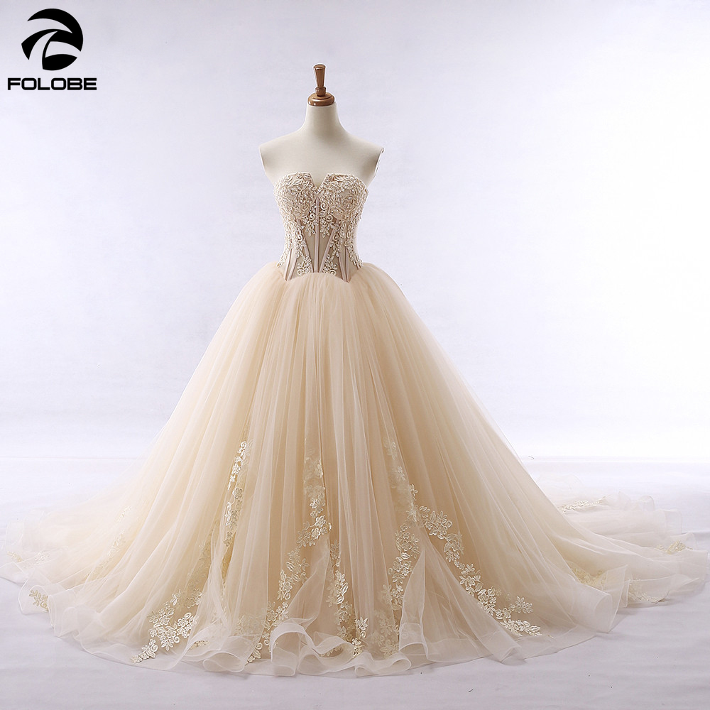 Vestido De Noiva Princess Ball Gown Champagne Wedding Dress Off The Shoulder Lace Appliques Long Bridal Gowns Robe De Mariee