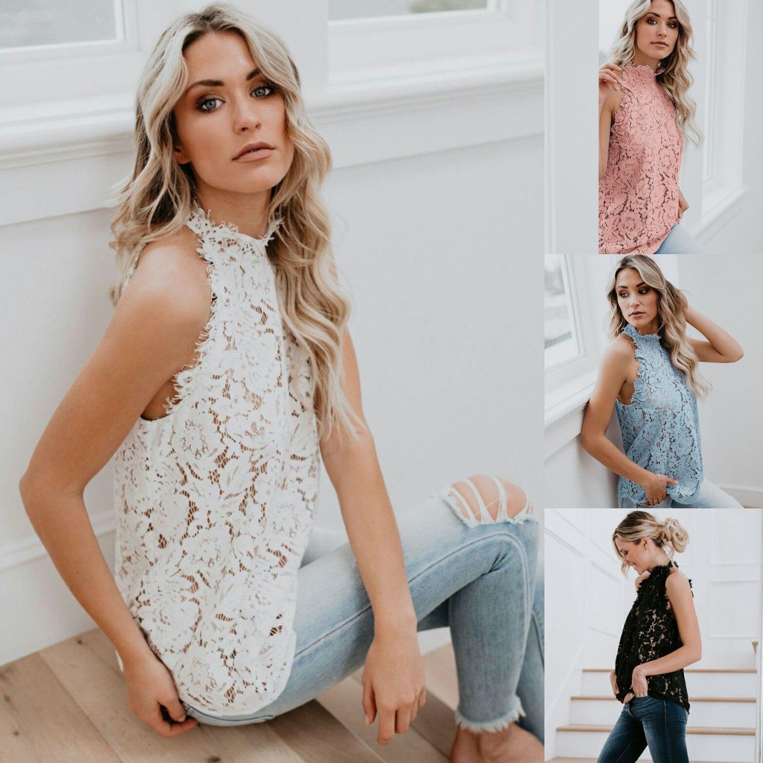 Plus Size Top Fashion Woman Blouses 2020 Sexy Hollow Out White Lace Halter Neck Sleeveless Shirts Blusas Femininas Party Clothes