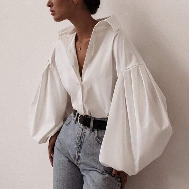 InstaHot Lantern Sleeve Elegant Shirt White Black Sexy Button Vintage Blouse Turn Down Collar Office Ladies Shirt Female Casual 2
