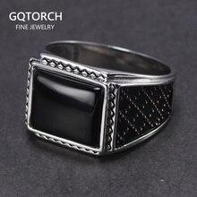 Genuíno prata sólida 925 anéis homem com onyx preto natural pedra do vintage turco masculino anéis turquia jóias anillos hombre