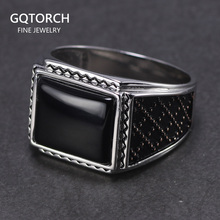 Genuine Solid Silver 925 Rings Man With Black Onyx Natural Stone Vintage Turkish Mens Rings Turkey Jewellery Anillos Hombre