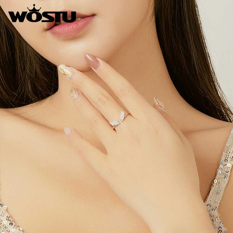 Wostuリアル 925 スターリングシルバーラウンドリングファッション女性かわいいファインジュエリー指リング調節可能な開口シルバーリング