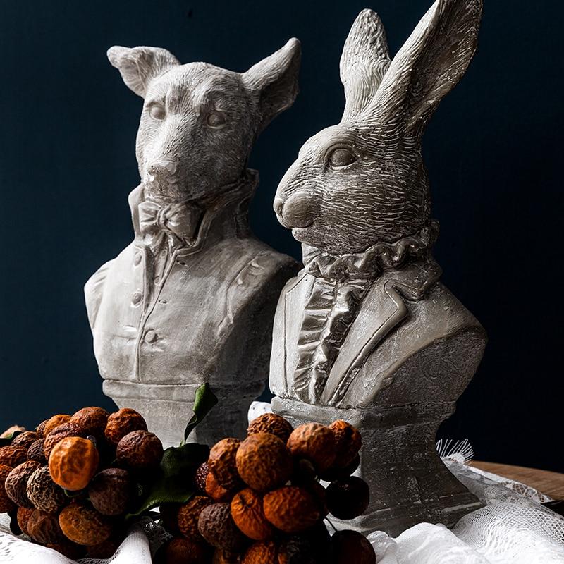 Nordic Rabbit Dog Concrete Statue Drawing Practice Crafts Sculpture Home Desktop Retro Ornament Decoration