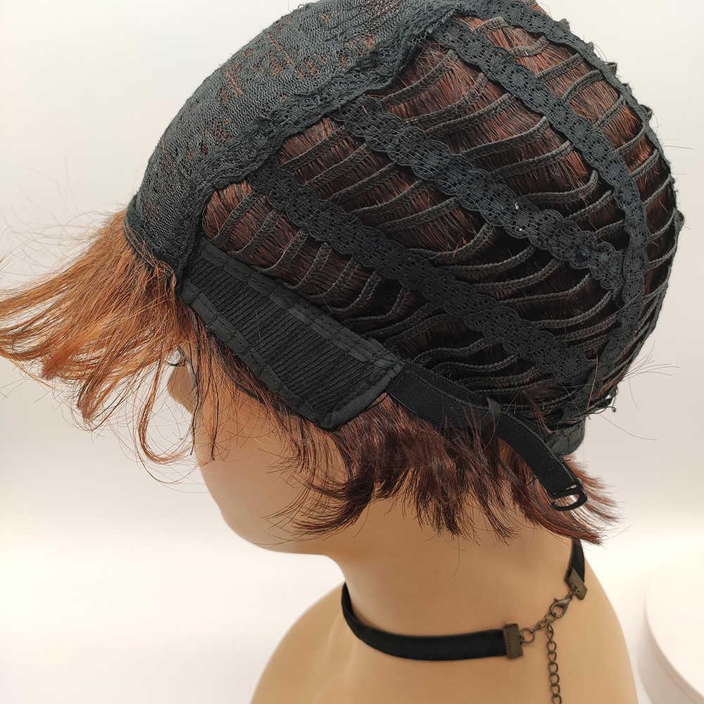 Bchr peruca curta escuro/vermelho laranja perucas sintéticas com estrondo lado raízes escuras ombre peruca para cabelo de onda natural feminino