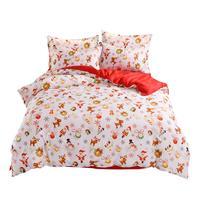 4pcs/set Christmas Printing Bedding Set Minimalism Duvet Cover Bed Sheet Pillowcase Soft Aloe Vera Cotton Home Textile