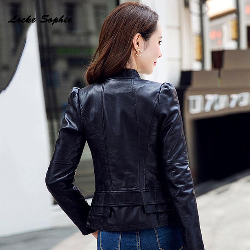 1pcs Women Plus size short jacket coats 2019 Winter faux fur PU Leather Splicing Slim fit Jacket ladies Skinny locomotive coats in Leather Jackets from Women 39 s Clothing