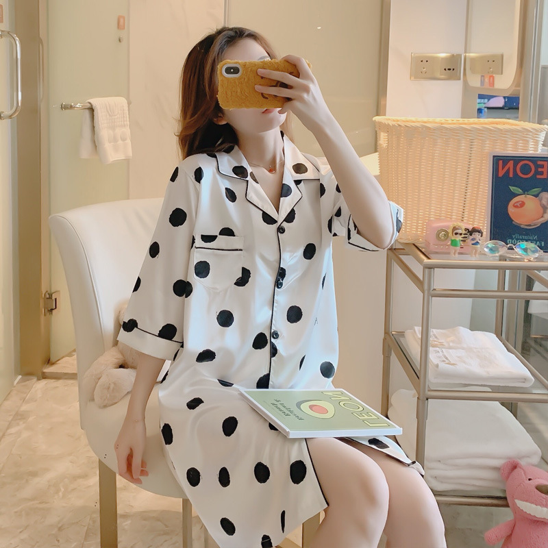 Large Size Nightgown Female Spring Summer Capri Half-sleeve Shirt Cardigan Model Silk Sexy Viscose Shirt Nightgown