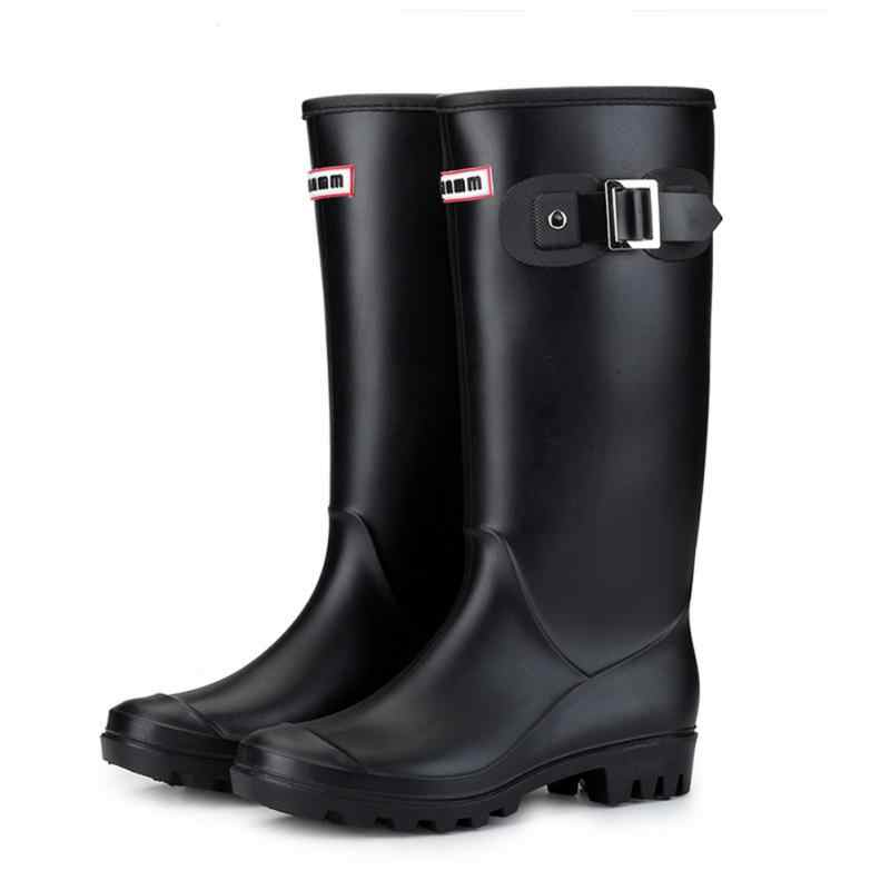 Women Wellington Round Toe Buckles Insulated Rain Boots Anti-slip High Waterproof Pull-on Winter Oil Resistant Cold Weather