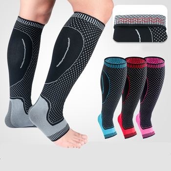 1 Pair Ankle Calf Compression Sleeve Socks Leg Guard Warmer Stocking Protector for Football Soccer Basketball 1 pair compression ankle protectors anti sprain basketball football ankle brace supports straps bandage wrap heel protector