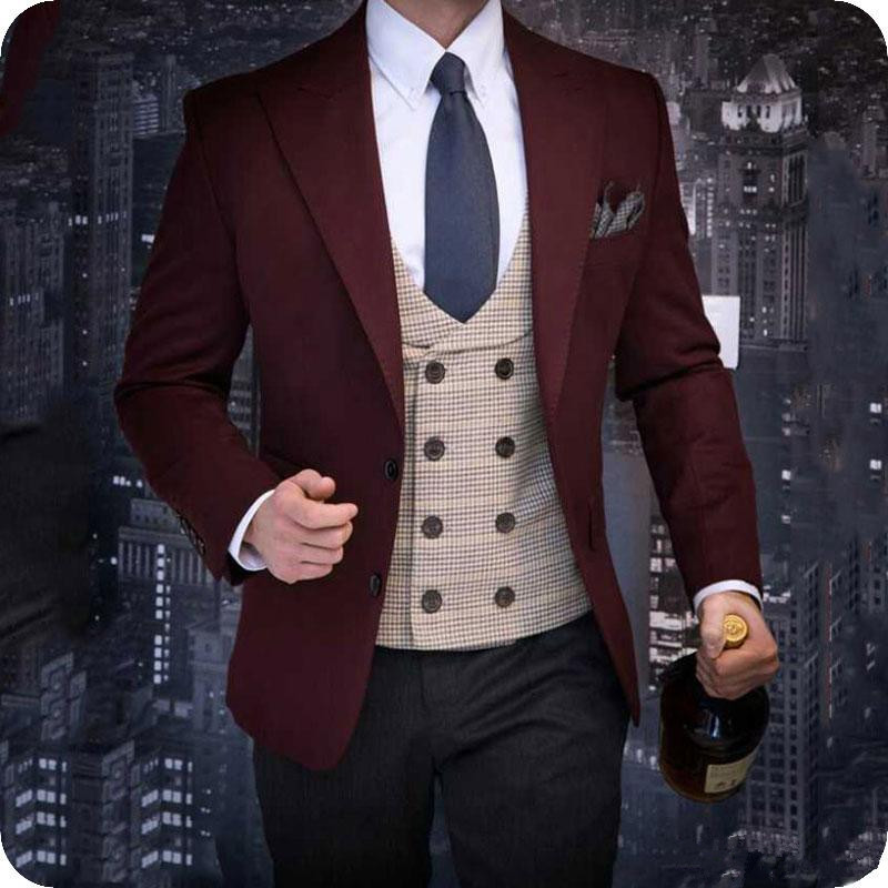 Latest Designs Burgundy Groom Tuxedos Men Suits Wedding Man Blazers Jacket Shawl Lapel Two Pieces Black Pants Groomsmen Suits Costume Homme以上