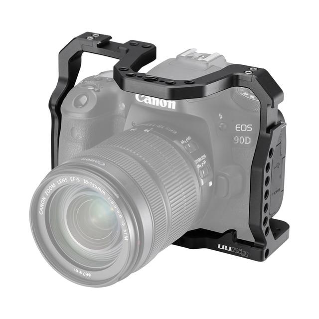 UURig DSLR 카메라 케이지 캐논 EOS 70D 80D 90D 하우징 케이스 콜드 슈 1/4 arri 홀 마이크 용 LED 필 라이트 익스텐션