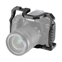 UURig DSLR هيكل قفصي الشكل للكاميرا لكانون EOS 70D 80D 90D الإسكان حافظة حذاء بارد 1/4 أري هول للميكروفون LED ملء ضوء التمديد