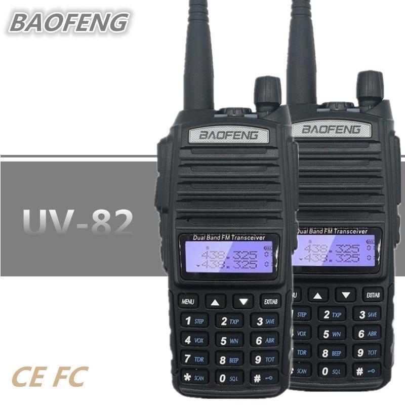 2PCS BAOFENG PTT UV-82 Walkie Talkie 10 KM UHF VHF CB Radio Communicador Portable Quad Band Ham Mobile Transceiver Amador VOX