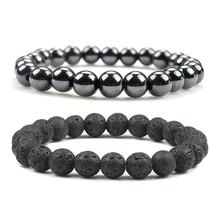 Doğal taş Lava mat hematit boncuk bilezik moda Charm buda namaz bilezikler erkekler kadınlar için Yoga takı hediyeler pulseras
