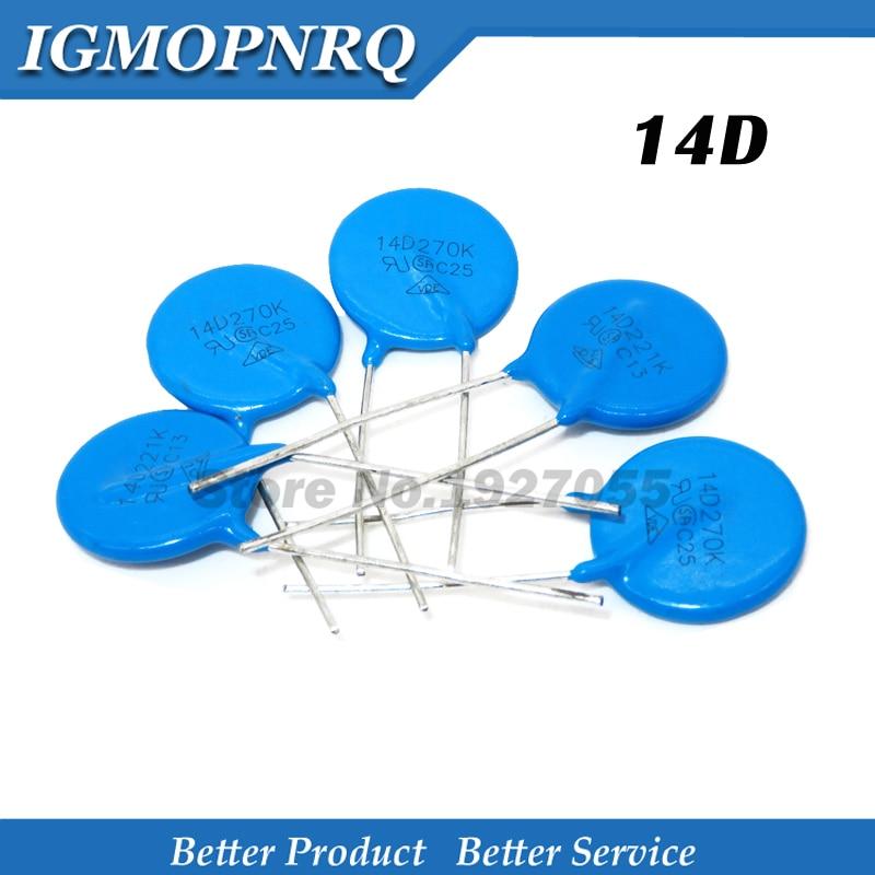 10PCS Piezoresistor 14D151K 14D201K 14D220K 14D221K 14D270K 14D431K 14D470K 14D471K 14D561K 14D621K 14D680K 14D821K Varistor