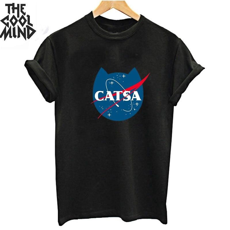 Coolmind 100% Cotton Shot Sleeve Catsa Funny Women T Shirt Casual Loose Women Tshirt Summer O-neck  T-shirt Women Tee Shirts