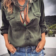 Women Blouse 2019 New Fashion Autumn Women Loose Top Long Sleeve Pocket Army Gre