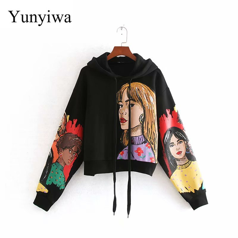 New 2020 Women Vintage Beauty Girls Print Casual Hooded Sweatershirts Retro Female Basic Knitted Fleece Hoodies Chic Tops