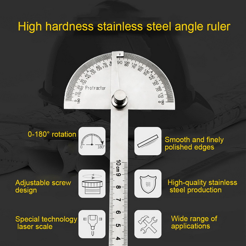180 Degree Adjustable multifunction stainless steel roundhead ruler mathematics measuring tool