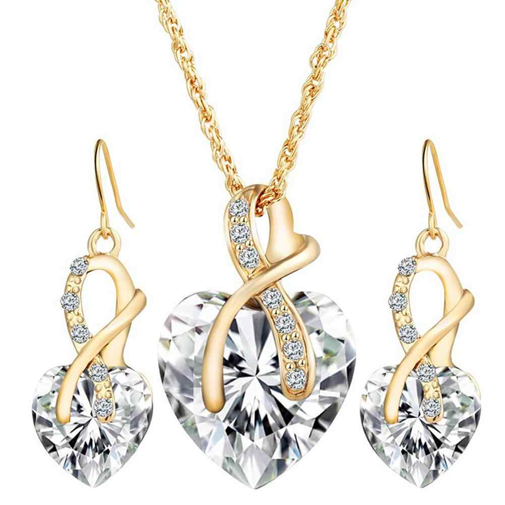 Elegant Jewelry Set Women Love Heart Cubic Zirconia CZ Wedding Necklace Earrings New Chic