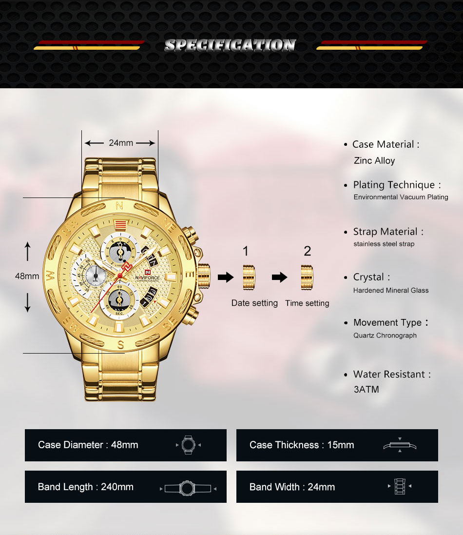 Image 5 - NAVIFORCE Top Brand Mens Watches Luxury Bussiness Watch Digital Quartz Men Military Wristwatch Clock Male Relogio Masculino 9165-in Quartz Watches from Watches
