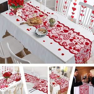 Cupid Love Red Heart Lace Table Runner for Home Indoor Valentine's Day Table Decorations Valentine's Day Party Supplies