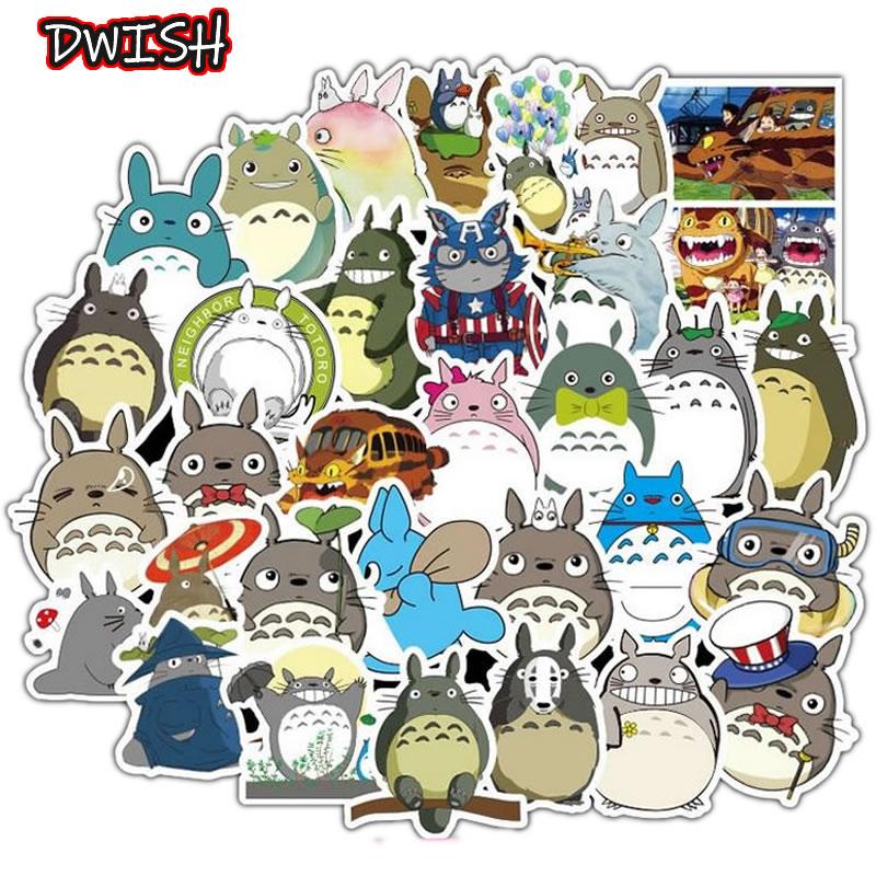 50pcs/Pack Cartoon Totoro Children Waterproof Stickers Skateboard Guitar Suitcase Hydroflask Graffiti Sticker Kids Classic Toy
