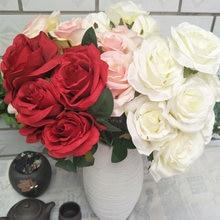 Искусственные розы, 1 букет, 9 цветов розы, искусственные розы, шелковые цветы для самостоятельного украшения дома, сада, свадьбы, распродажа