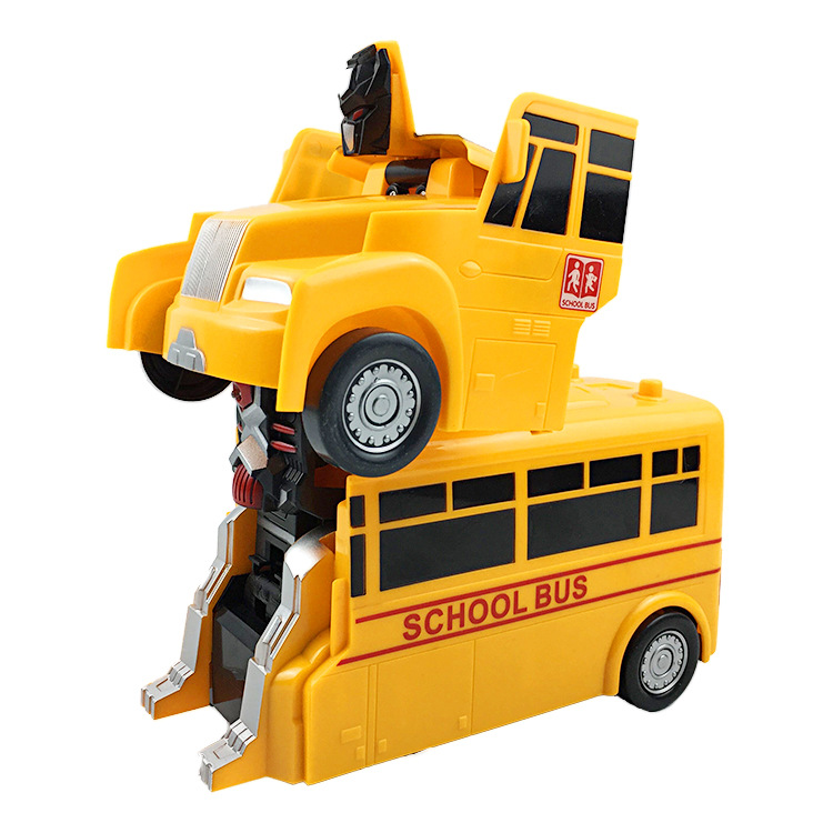 Small Xing Children Transformer Toy Car Electric Automatic Transformation School Bus Universal Transformation Robot Toys