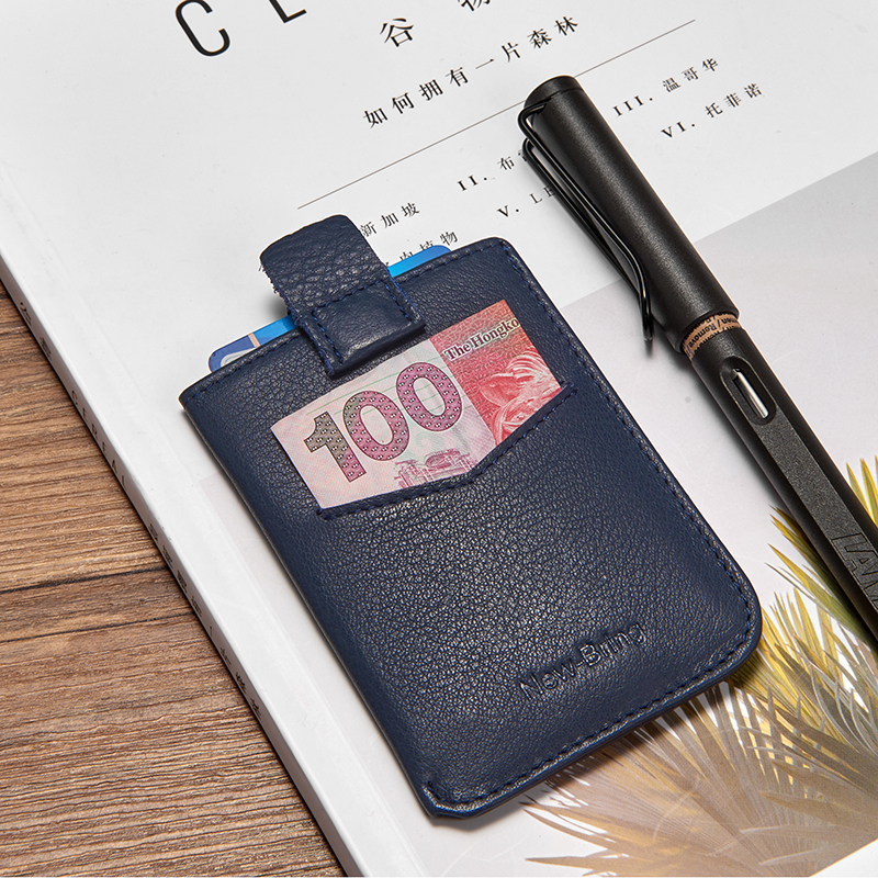 NewBring Slim Genuine Leather Wallet Short Card Holder Driver Licence Clutch Wallet Magnetic Closure Purse For Men
