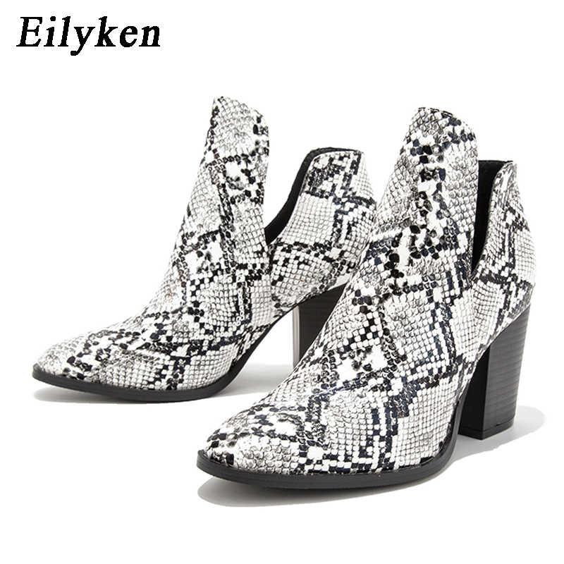 EilyKen batı kovboy çizmeleri kadın elastik yılan desen deri kare yüksek topuklu kısa Cowgirl patik ayak bileği Bootas ayakkabı