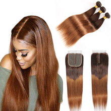 Ombre 3/4 Bundles Bundles With Closure Brazilian Straight Human Hair Bundles With T Lace Closure 4/30 Remy Hair Weave Extensions