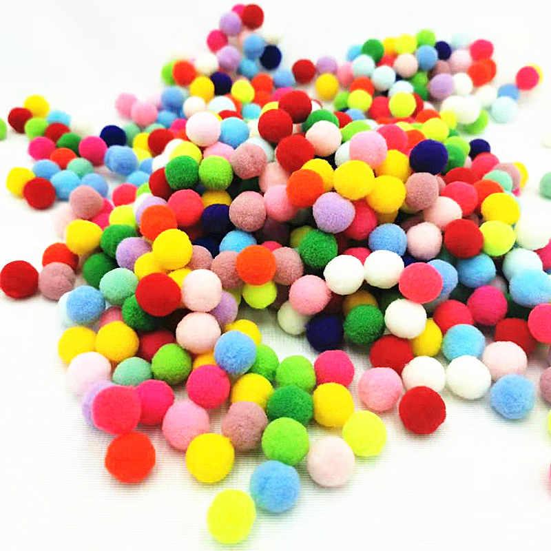 เด็กDIY Pompomsของเล่นหัตถกรรมมินิFluffy Pompon 10/15/20/25 มม.Pom Pomsคริสต์มาสอุปกรณ์ตกแต่ง 100 ชิ้น/ล็อต