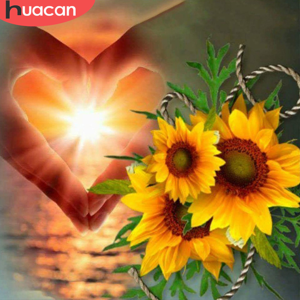 HUACAN Diamond Embroidery Sunflowers 5D Diamond Painting Cross Stitch Heart Shape Full Square Home Decor Picture Of Rhinestones