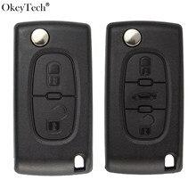 OkeyTech Флип складной автомобильный Корпус ключа для Peugeot 206 407 307 607 для Citroen C2 C3 C4 C5 C6 berlingo дистанционный ключ чехол 2/3 кнопки