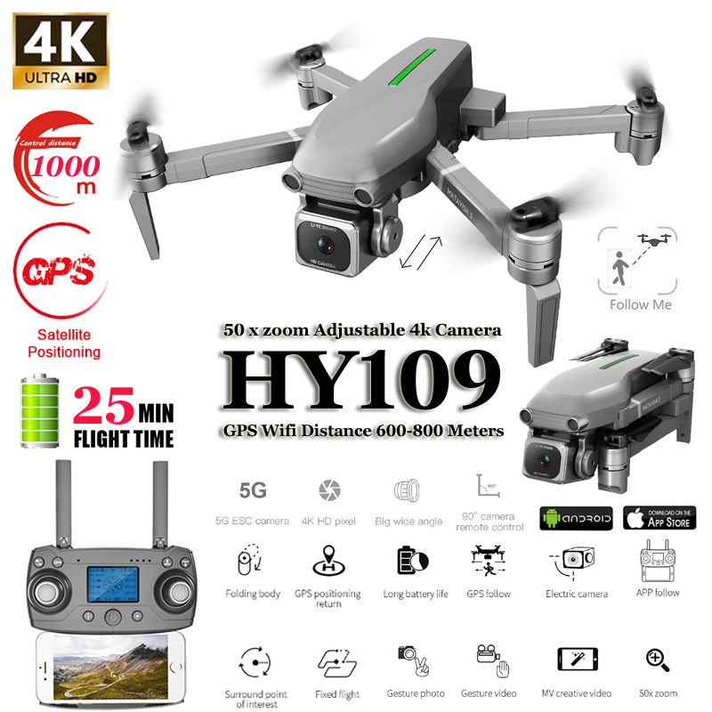 HY109 4K Drone GPS With Adjustment HD Camera 50xZoom Wide Angle 5G WIFI FPV RC Quadcopter Professional Foldable Drones E520S E58
