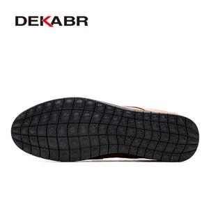 Image 4 - DEKABR prawdziwej skóry mężczyzna przypadkowi buty luksusowej marki 2021 męskie mokasyny oddychające Slip on buty do jazdy samochodem Plus rozmiar 45