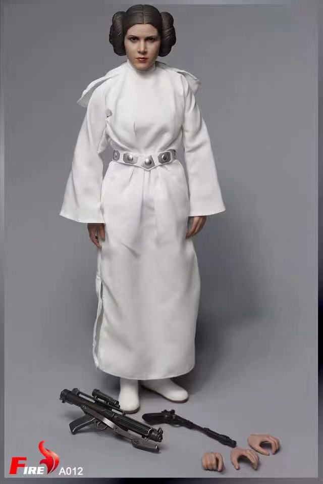 1/6 Scale Princess Leia Action Figure With Head Sculpt White Dress Shoes Belt Gun Model Toy Fire Toys A012