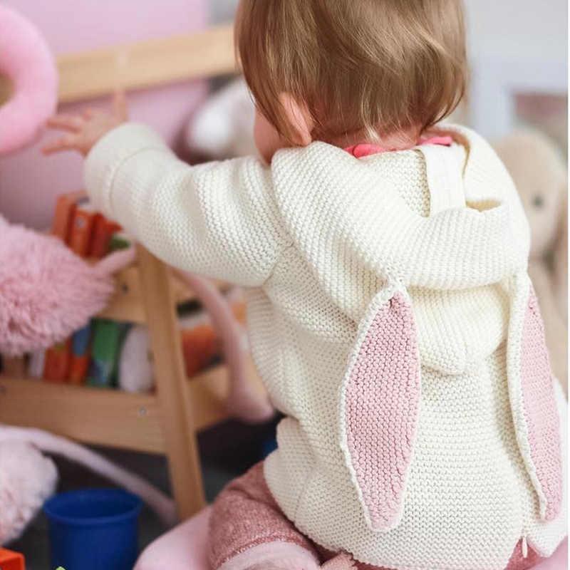TinyPeople konijn oor Baby Meisje Kleding Winter Pasgeboren kapmantel Bebe Knit katoen Dikker Jongens Baby Kostuum Peuter trui