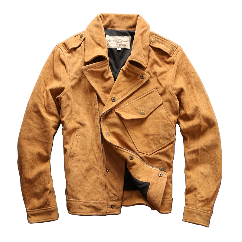AVIREXFLY Men's Cow Leather Mens Cowhide Coat Vintage Rider Jacket